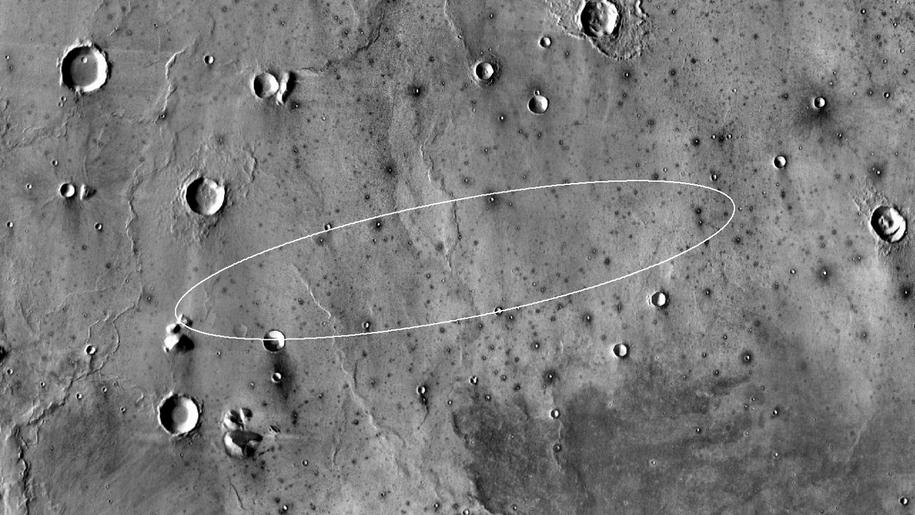 Rejon lądowania, sfotografowany przez sondę Mars Odyssey / NASA/JPL-Caltech/ASU  /Materiały prasowe