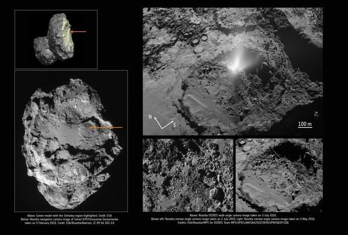 Rejon powierzchni jądra komety, gdzie doszło do emisji /ESA/Rosetta/NavCam; ESA; ESA/Rosetta/MPS for OSIRIS Team MPS/UPD/LAM/IAA/SSO/INTA/UPM/DASP/IDA /Materiały prasowe