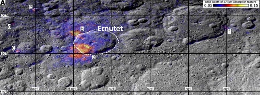 Rejony, gdzie odkryto ślady substancji organicznych (A-F) /NASA/JPL-Caltech/UCLA/ASI/INAF/MPS/DLR/IDA /materiały prasowe