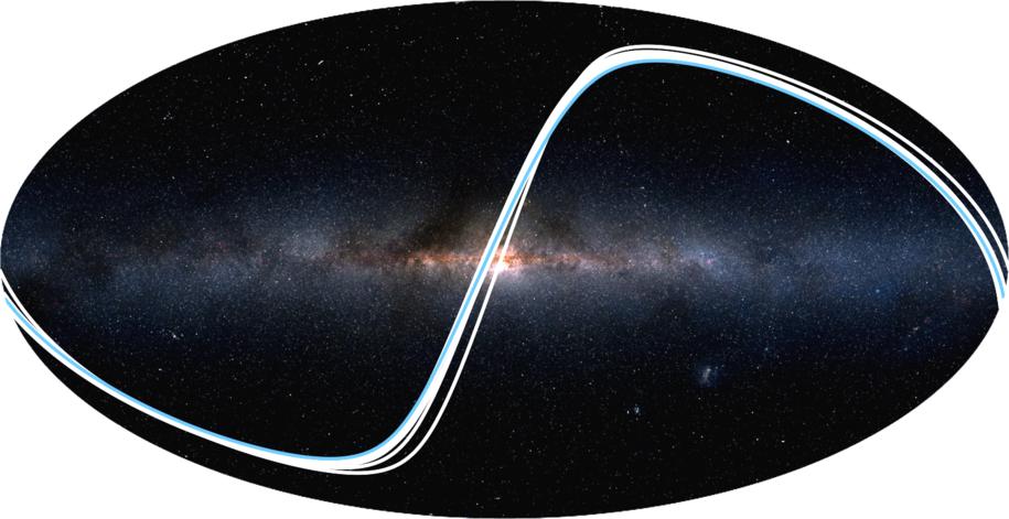 Rejony wszechświata, z których mozna zauważyć Ukłąd Słoneczny. Niebieską linią oznaczono rejony, skad mozna dostrzec tranzyt Ziemi /2MASS / A. Mellinger / R. Wells /Materiały prasowe