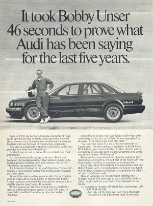 Reklama Audi z okazji wyczynu Bobby'ego Unsera /Audi