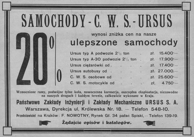 Reklama krakowskiego przedstawicielstwa PZInż. z roku 1931, oferującego również motocykle CWS M55 /Archiwum Tomasza Szczerbickiego