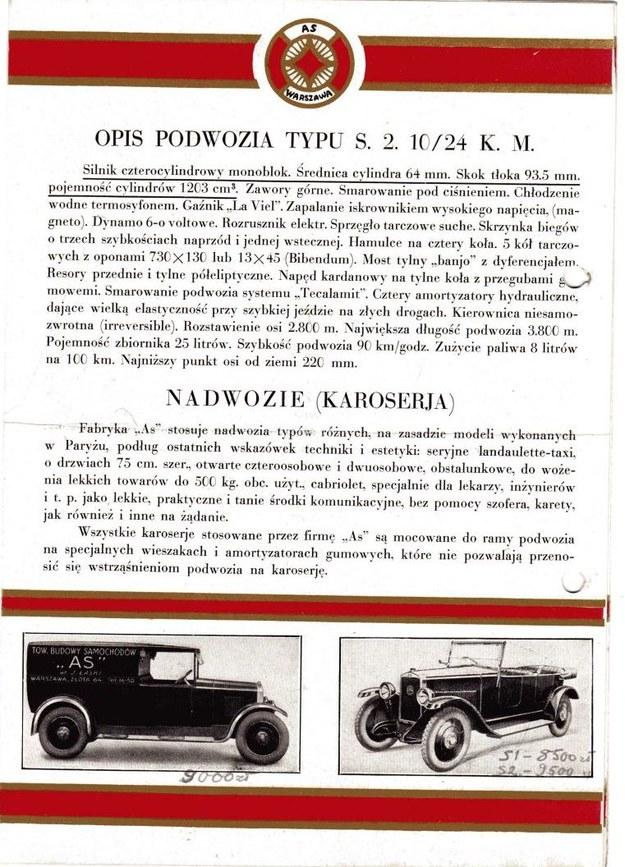 Reklama pojazdów Towarzystwa Budowy Samochodów AS /Archiwum Tomasza Szczerbickiego