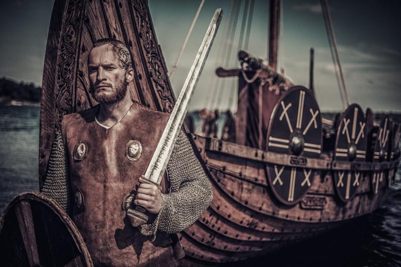 Rekonstruktor przebrany za wikińskiego wojownika na tle drakkaru, czyli słynnej długiej łodzi /Nejron/easyfotostock/Eastnews /East News