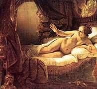 Rembrandt, Danae odwiedzana przez Jowisza w postaci złotego deszczu, fragment, 1636 /Encyklopedia Internautica