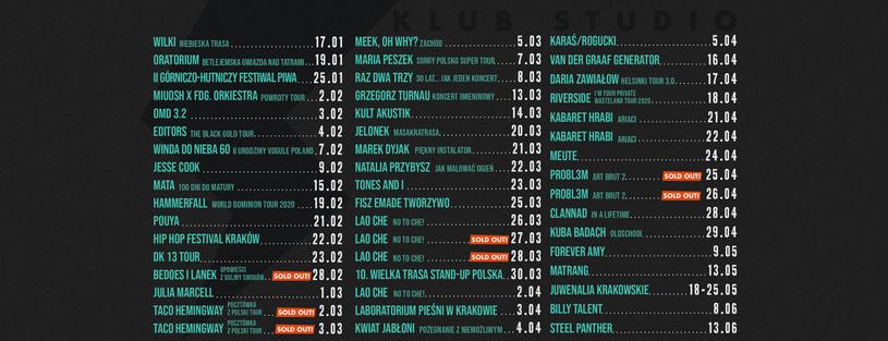 Repertuar krakowskiego Klubu Studio /materiały prasowe