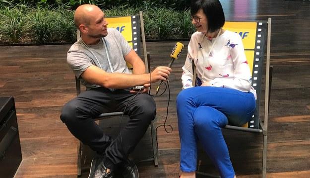 Reporter RMF FM Kuba Kaługa i jego rozmówczyni Arlena Witt /Kuba Kaługa /RMF FM