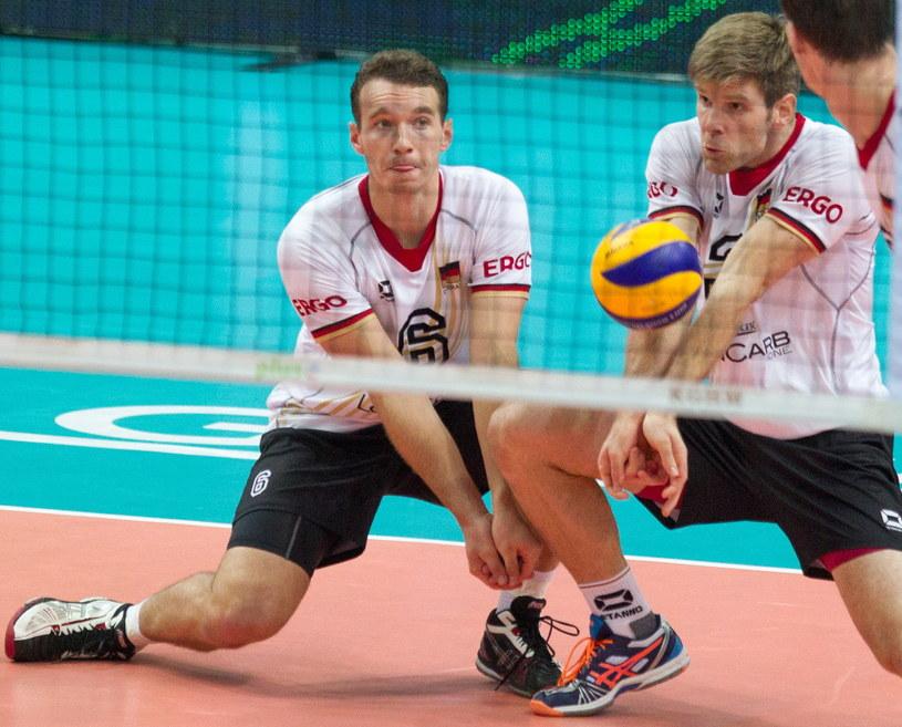 Reprezentanci Niemiec: Denys Kaliberda i Sebastian Schwartz /Andrzej Grygiel /PAP