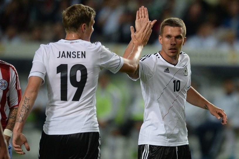 Reprezentanci Niemiec - Marcell Jansen i Lukas Podolski /AFP