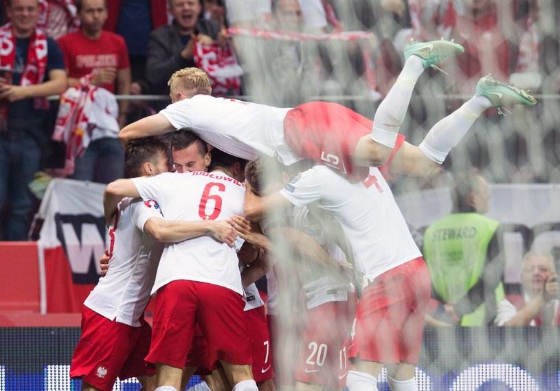 Reprezentanci Polski po strzeleniu gola Niemcom /AFP