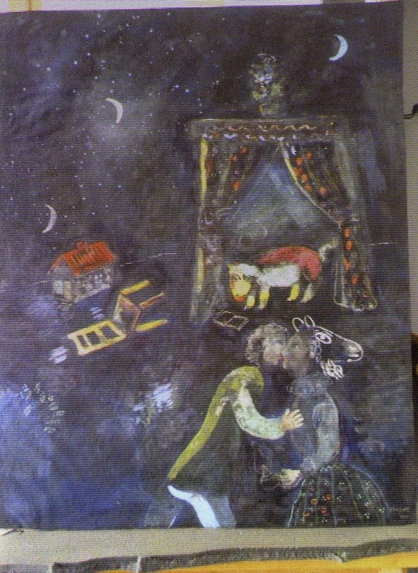 Reprodukcja odnalezionego obrazu Marca Chagalla /AFP