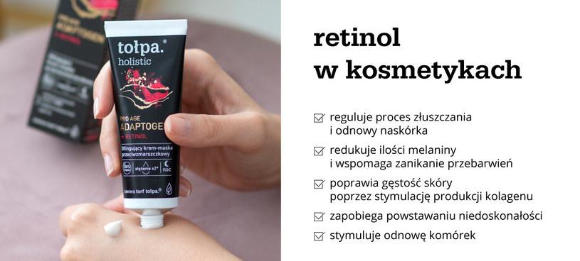 Retinol w kosmetykach - infografika /materiały promocyjne