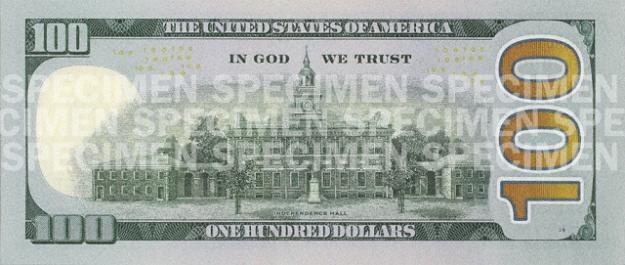 Rewers nowego banknotu studolarowego /