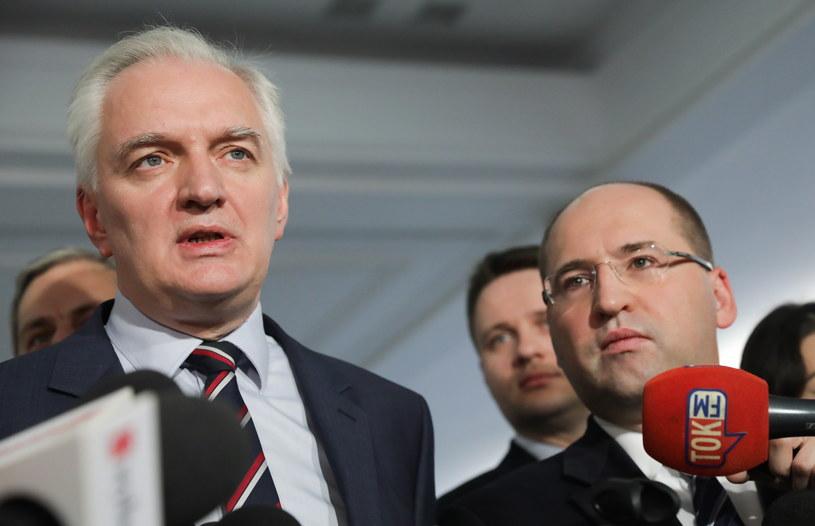 rezes Polski Razem, wicepremier Jarosław Gowin i wicemarszałek Senatu Adam Bielan /Tomasz Gzell /PAP