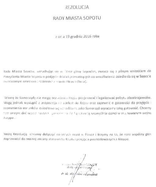 Rezolucja Rady Miasta Sopotu z 19 grudnia /
