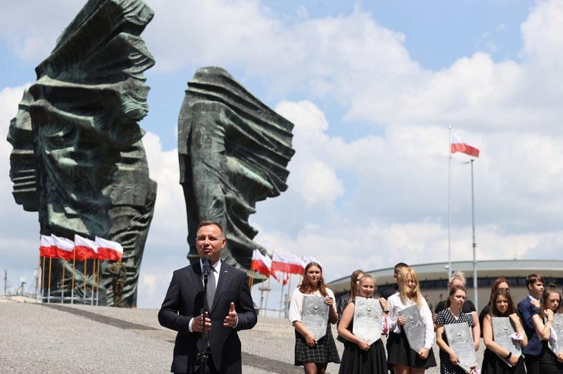 rezydent RP Andrzej Duda podczas uroczystości w Parku Powstańców Śląskich w Katowicach /Andrzej Grygiel /PAP