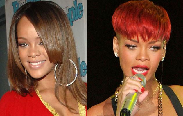 Rihanna w 2005 roku i obecnie. Fot. Brad Barket, Carlos Alvarez  /Getty Images/Flash Press Media