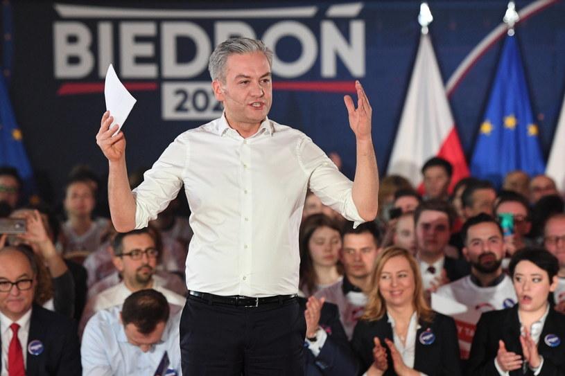 Robert Biedroń na swojej konwencji wyborczej / Radek Pietruszka   /PAP