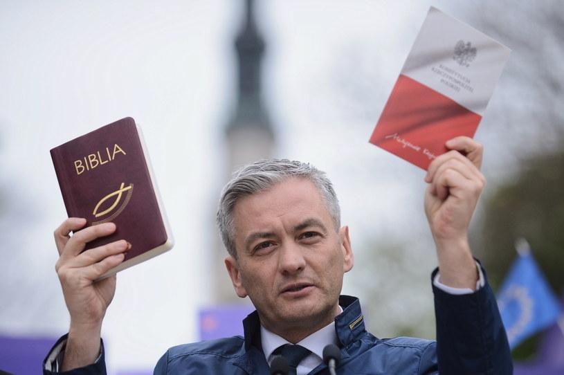 Robert Biedroń podczas konferencji prasowej w Częstochowie /Marcin Obara /PAP