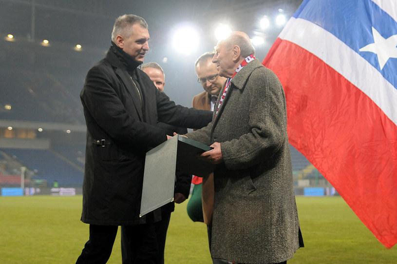Robert Gaszyński i prezes honorowy Wisły Ludwik Miętta-Mikołajewicz. /Joanna Żmijewska /INTERIA.PL