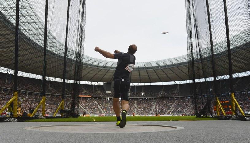 Robert Harting na stadionie olimpijskim w Berlinie /AFP
