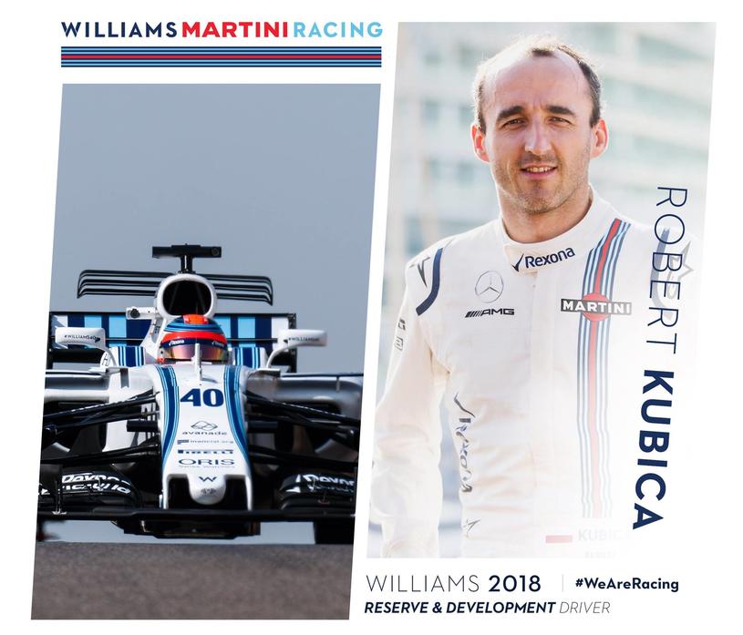 Robert Kubica będzie kierowcą testowym i rezerwowym Williamsa /