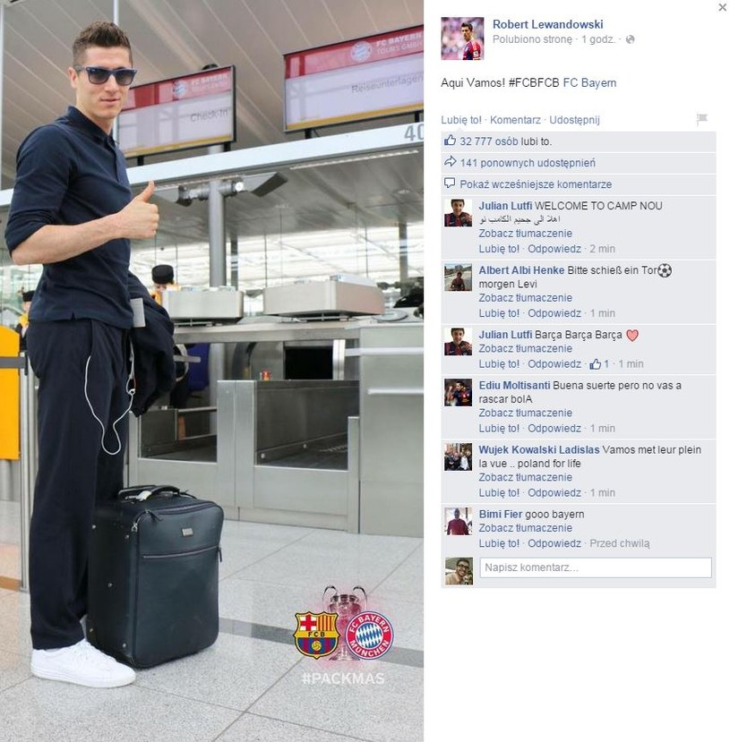Robert Lewandowski gotowy do wylotu (źródło: Facebook Roberta Lewandowskiego) /INTERIA.PL