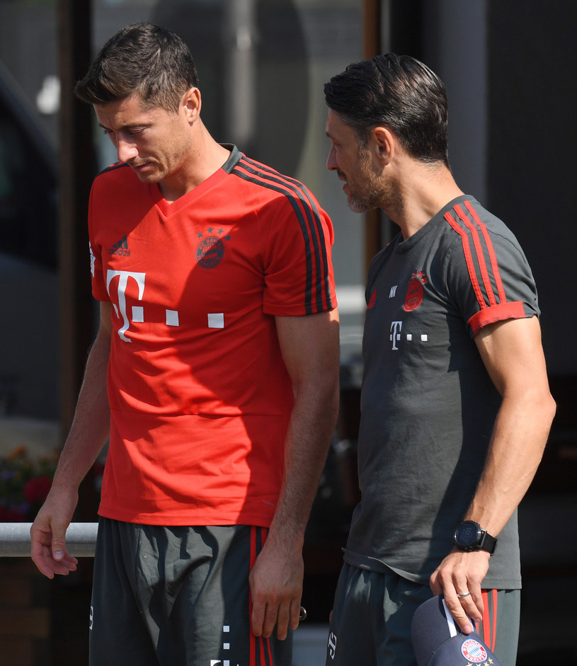 Robert Lewandowski i nowy trener Bayernu Niko Kovacz /AFP