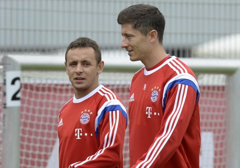 Robert Lewandowski i Rafinha na treningu Bayernu Monachium /AFP