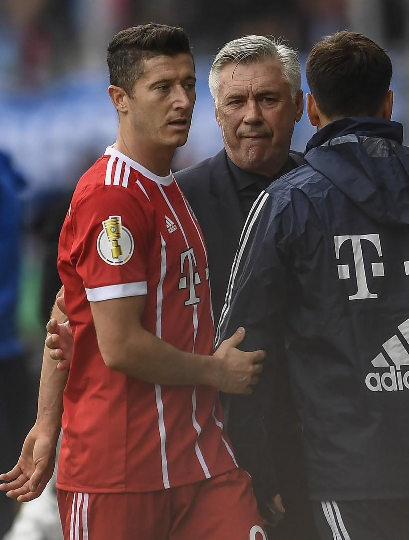 Robert Lewandowski i trener Bayernu Carlo Ancelotti /PAP/EPA