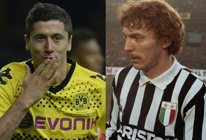 Robert Lewandowski i Zbigniew Boniek w koszulce Juventusu. /Marek Wielgus /Reporter