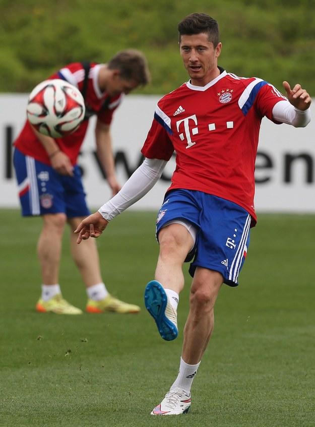 Robert Lewandowski na treningu Bayernu Monachium /AFP