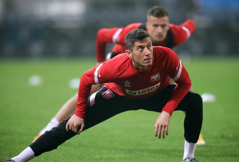 Robert Lewandowski na treningu przed meczem z Włochami w Reggio Emilia / Leszek Szymański    /PAP