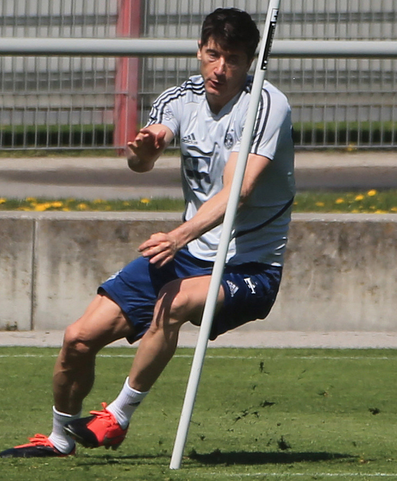 Robert Lewandowski na treningu /East News