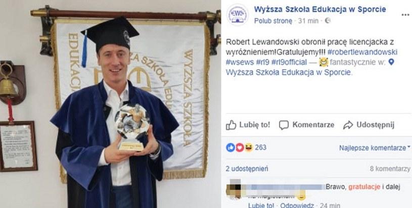 Robert Lewandowski obronił pracę licencjacką z wyróżnieniem /Fot. Printscreeen/Facebook WSEwS /
