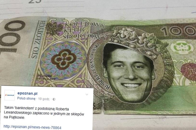Robert Lewandowski padł ofiarą przestępstwa na banknocie /facebook.com/epoznan /