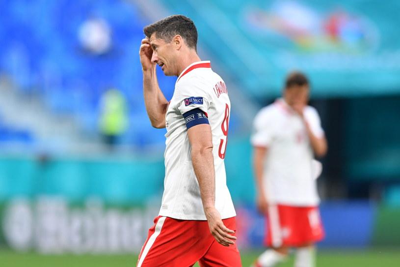 Robert Lewandowski po meczu ze Słowacją /Adam Warżawa /PAP