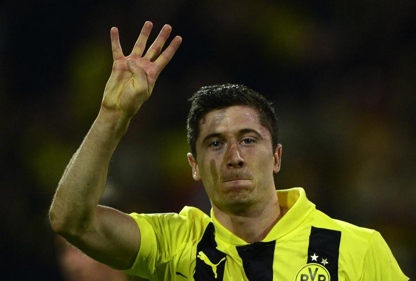 Robert Lewandowski po strzeleniu czterech bramek Realowi Madryt /AFP