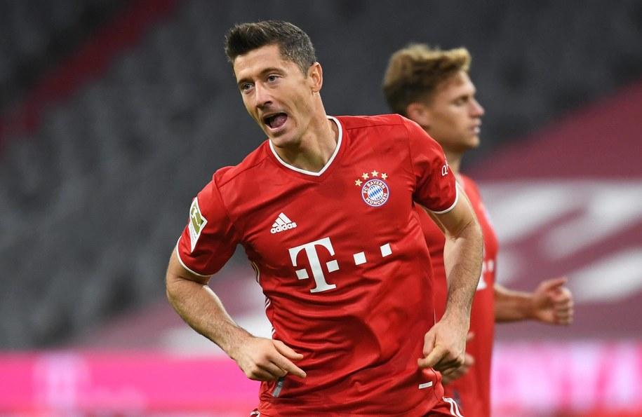 Robert Lewandowski podczas meczu Bayern Monachium - Hertha BSC /\Sven Hoppe /PAP/DPA