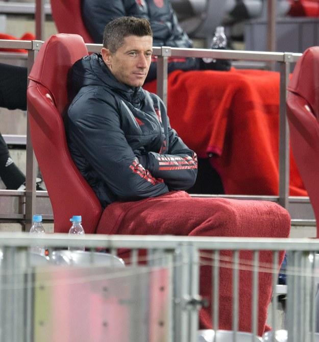 Robert Lewandowski podczas meczu Bayernu Monachium z rzymskim Lazio /GES-Sportfoto /PAP/DPA