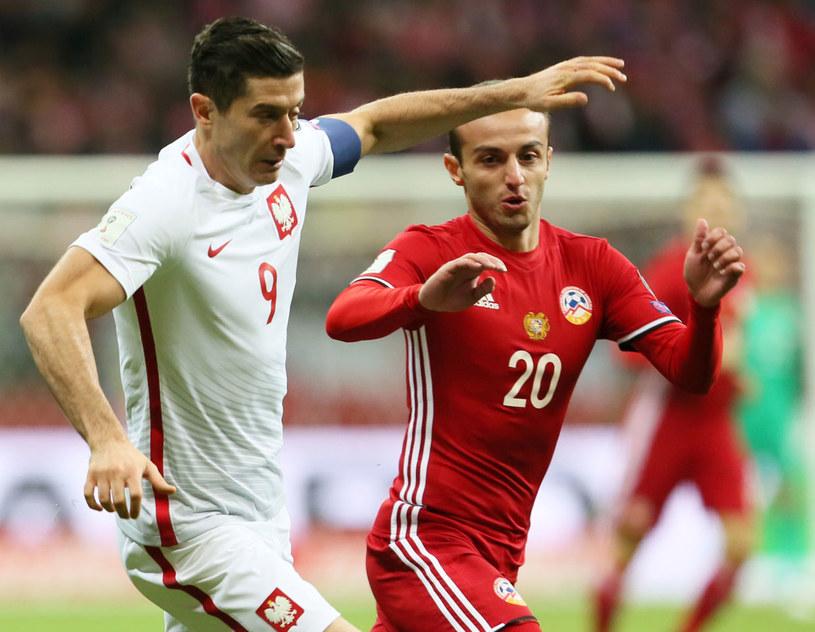 Robert Lewandowski podczas meczu z Armenią /Leszek Szymański /PAP