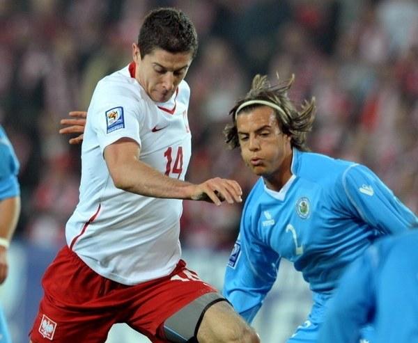 Robert Lewandowski podczas pamiętnego 10-0 z San Marino w Kielcach w 2009 roku /AFP