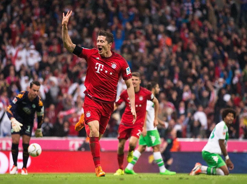 Robert Lewandowski podczas pamiętnego meczu z VfL Wolfsburg na Allianz Arena /Getty Images