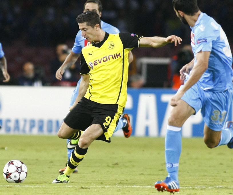 Robert Lewandowski podczas pierwszego meczu Napoli z Borussią /AFP