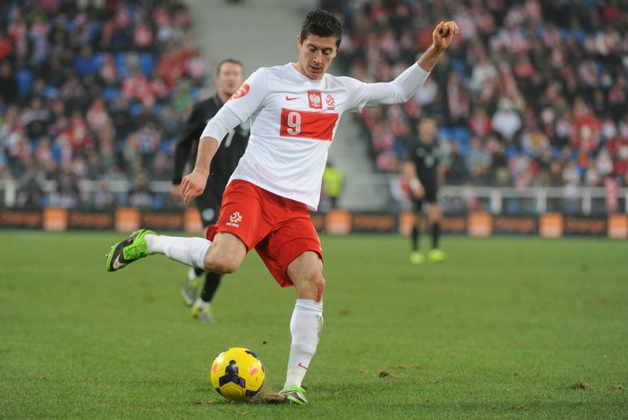 Robert Lewandowski podczas towarzyskiego meczu Polska - Irlandia /Bartłomiej Zborowski /PAP