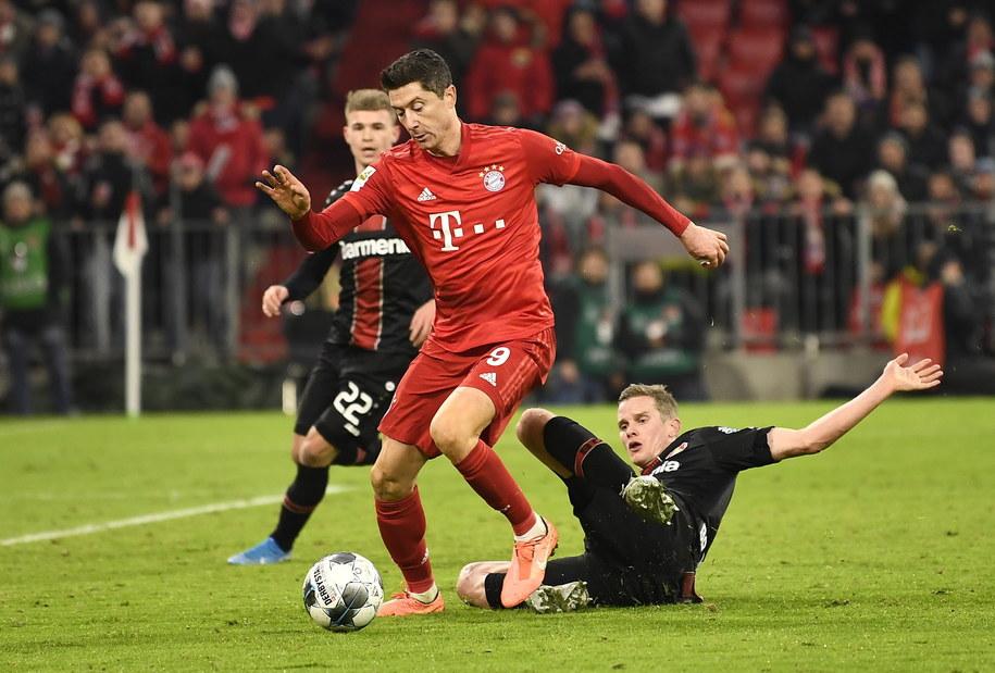 Robert Lewandowski w meczu Bayernu Monachium z Bayerem 04 Leverkusen /LUKAS BARTH-TUTTAS /PAP/EPA