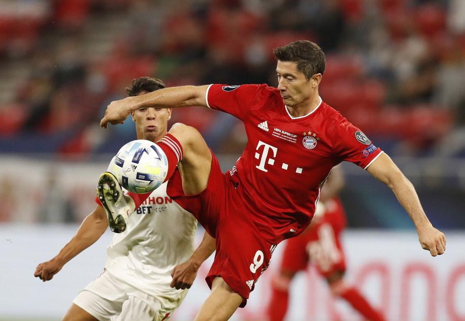 Robert Lewandowski w meczu Bayernu Monachium z Sevillą o Superpuchar UEFA /Laszlo Balogh / POOL /PAP/EPA