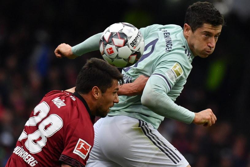 Robert Lewandowski w meczu z 1. FC Nuernberg /PAP/EPA