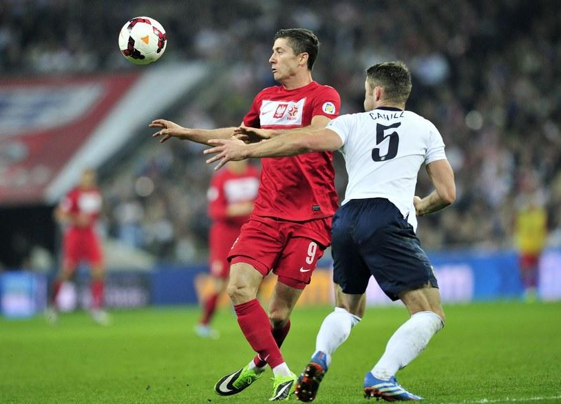 Robert Lewandowski w meczu z Anglią na Wembley w październiku 2013 roku /AFP