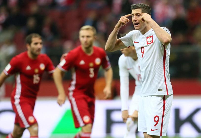 Robert Lewandowski w meczu z Armenią /Leszek Szymański /PAP